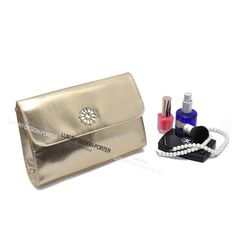 Luxury Designer Gold Leatherette Clutch IT bag Purse with Rhinestone Flower