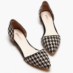 Simple Houndstooth and Flat Design Women's Flat ShoesFlats