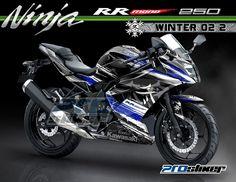 Kawasaki Ninja RR Mono 250cc Motor Warna Putih Modifikasi Stiker Desain Grafis WINTER 02 2 Putih Biru Prostiker