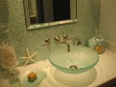 HGTV: Master bath vanity - iridescent mosaic in fern by sicis.I chose all the colors and ...