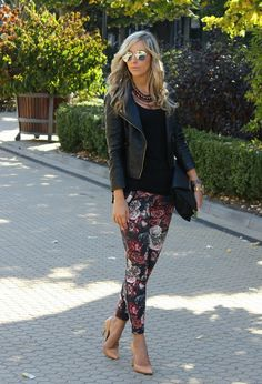 22 Brilliant Outfit Ideas with Leather Jacket- that jacket... But blegh those pants