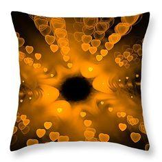 Throw Pillow with golden hearts: Digital Art based on a fractal, never ending… Fine Art Prints, Framed Prints, Canvas Prints, Funny Pillows, Throw Pillows, Fractal Art, Fractals, Math Art, Art Base