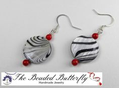 Zebra and Red Earrings  Black and White by TheBeadedButterfly