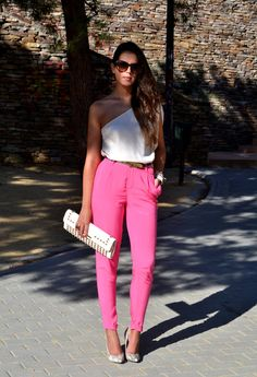 fuchsia pants  , Adolfo Dominguez in Shirt / Blouses, Elisabetta Franchi in Clutches, Topshop in Heels / Wedges