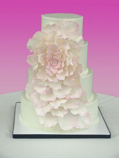 """Large Flower Wedding Cake Bride brought me a photo of a similar cake (but original was all white) she found on """"The Knot"""" (which. Buttercream Cake, Fondant Cakes, Cupcake Cakes, Cupcakes, Round Wedding Cakes, Wedding Cakes With Flowers, Petal Cake, Ruffle Cake, Cake Gallery"""