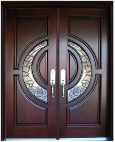 BGW Mahogany Wood Door Unit - traditional - Front Doors - Other Metro - Global Entry Doors Double Door Design, Main Door Design, Wooden Door Design, Front Door Design, Wood Entry Doors, Double Entry Doors, The Doors, Main Entrance Door, Office Entrance