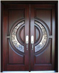 Frente de encargo clásica de madera maciza puertas dobles