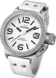 TW Steel Canteen Unisex Quartz Watch with White Dial Analogue Display and White Leather Strap TW35