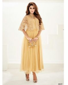Gold Georgette Cape Style Dress