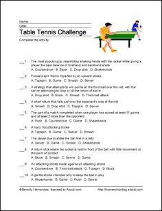 Table Tennis Printables - Table Tennis Wordsearch. Print the Table Tennis Word Search and find the Table Tennis related words.: Table Tennis Challenge