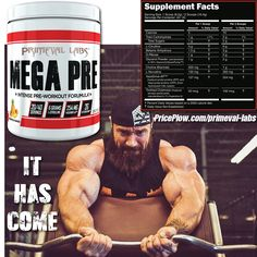 Primeval Labs MEGA PRE Brings Bigger Pumps, Better Blood Flow https://blog.priceplow.com/supplement-news/primeval-labs-mega-pre  This one's been a long time coming, but if you need to get your guns juiced to the max, MEGA PRE has your back.  Primeval was looking at making this a stim-based pre, but with Adrenal Rush V2 and APE SH*T already winning from the brand, Seth Feroce wanted something for ferocious, purely vasodilating pumps!  Few new ingredients here. And have you ever taken 2g…