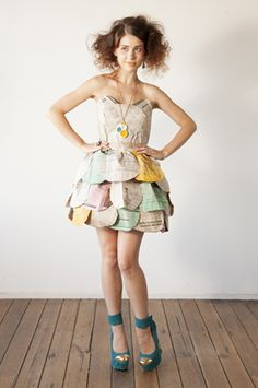 """newpaper dress - perfect for announcing for big engagement """"news"""" < get it?"""