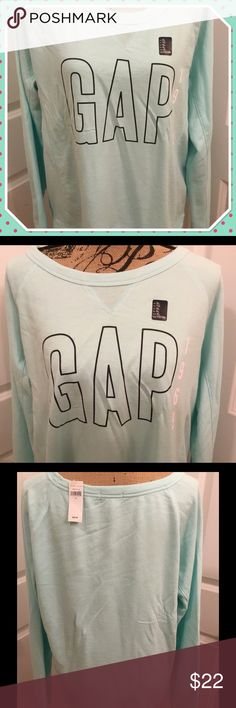 Gap Factory Mint Green Logo Pullover - NWT - XL This is a brand new with tags Gap Factory pullover.  I would describe it as a very lightweight sweatshirt.  It is mint green with navy and white printing.  Size XL.  60% cotton, 40% polyester. GAP Tops Sweatshirts & Hoodies