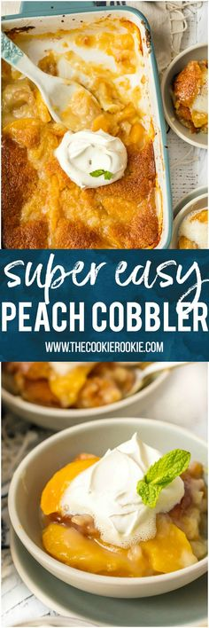 EASY Peach Cobbler Recipe is the stuff Summer recipe dreams are made of! This Best Peach Cobbler Recipe is so simple and only has 6 Ingredients (7 if you count the whipped cream). Peach Cobbler with Canned Peaches can be made year round and is so full of flavor you'll swear it was made by Grandma. It's a must make for every holiday including Easter, 4th of July, Thanksgiving, and Christmas! #peach #cobbler #baking #summer #easter #4thofjuly #dessert #fruit #easyrecipe via @beckygallhardin