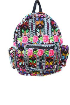The Xuni Floral Backpack is made with recycled embroidered fabric from Zunil Guatemala. Withexquisitehand-embroidered detail, each backpack is unique and one-of-a-kind. Color: Floral and Tribal Mix 3OuterPockets Adjustable Straps Free Shipping USA Handmade in Guatemala by Local Artisans – Refers to Materials, Stitching, Embroidery, Dying and Assemblage