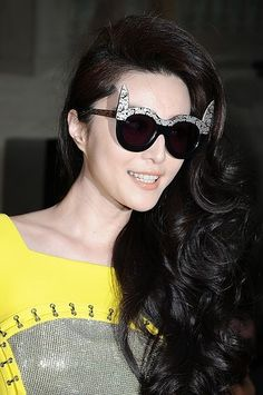 Fan Bingbing shows off her voluminous curls and cat eye glasses.