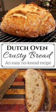 easy, no-knead, Dutch oven crusty bread recipe. So easy you'll never buy bread again!An easy, no-knead, Dutch oven crusty bread recipe. So easy you'll never buy bread again! Artisan Bread Recipes, Easy Bread Recipes, Cooking Recipes, Crusty Bread Recipe Quick, Cooking Games, Cooking Classes, Easy Dutch Oven Recipes, Simple Bread Recipe, Dutch Oven Desserts