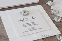 Elegant wedding invitation with crystal and pearl embellishment. DIY wedding invitations.  Design guide and instructions available from Imagine DIY  #RePin by AT Social Media Marketing - Pinterest Marketing Specialists ATSocialMedia.co.uk
