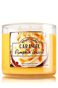 """Caramel Pumpkin Swirl - 3-Wick Candle - Bath & Body Works - The Perfect 3-Wick Candle! Made using the highest concentration of fragrance oils, an exclusive blend of vegetable wax and wicks that won't burn out, our candles melt consistently & evenly, radiating enough fragrance to fill an entire room. Topped with a flame-extinguishing lid! Burns approximately 25 - 45 hours and measures 4"""" wide x 3 1/2"""" tall."""