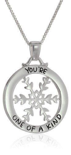 """Sterling Silver """"You're One Of A Kind"""" Reversible Snowflake Pendant Necklace, 18"""" Amazon Curated Collection"""