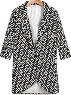 Black Notch Lapel Long Sleeve Geometric Print Blazer - Sheinside.com