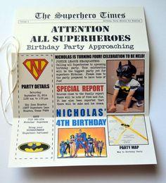 Superhero Birthday Invitation DC/Justice League by stampandseal
