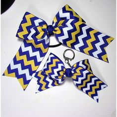 Cheer Bow Bag tag/key Chain Combo Large Royal Blue Gold and White Hair... ($8) ❤ liked on Polyvore featuring accessories, barrettes & clips, grey, hair accessories, gold key chain and fob key chain