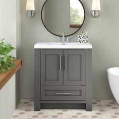 30 Inch Bathroom Vanity, Small Bathroom Vanities, Downstairs Bathroom, Small Grey Bathrooms, Master Bathroom, Grey Bathroom Cabinets, Bathroom Sink Units, Sink Vanity Unit, Bathroom Wall Colors