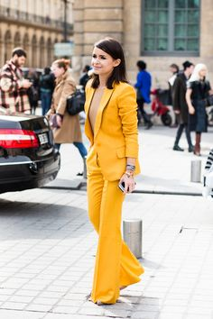 Miroslava Duma - Street style - Love this suit! Love the yellow soooo much.