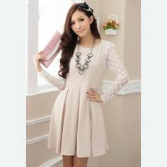 $11.11 Elegant Round Collar Voile Splice Slimming Long Sleeve Charming Solid Color Pleated Dress With Belt For Women