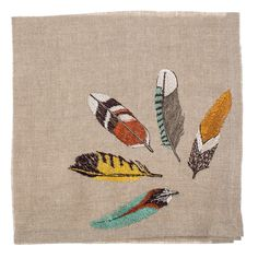 New York Magazine's Fall Preview issue - Coral & Tusk Feather Fan Napkins, embroidery on linen