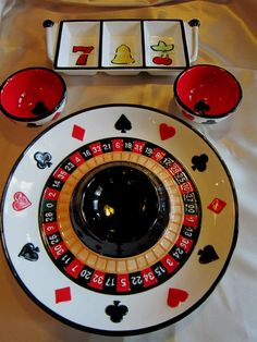 FITZ & FLOYD 4PC GAME NIGHT PARTY ESSENTIALS SET- Handcrafted with Casino Motif $47.99