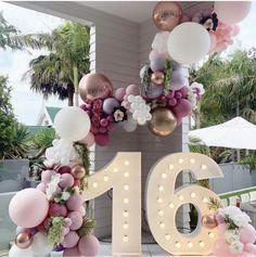 Sweet 16 Party Decorations, 21st Birthday Decorations, Quince Decorations, Balloon Decorations, 16 Balloons, Pastel Balloons, Balloon Garland, Balloon Backdrop, Pink Birthday
