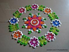 Rangoli for beginners Rangoli Ideas, Simple Rangoli, Good Morning Happy, Satisfying Video, Beautiful Rangoli Designs, Quilling Patterns, Side Borders, Fancy, Make It Yourself