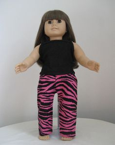 American Girl Doll Clothes Hot Pink  Zebra by DesignsbyDoreen