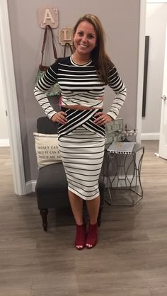 We love this striped two piece set! -Top with side cutouts - $42  -Midi skirt - $44  -Burgundy peep-toe heels - $41