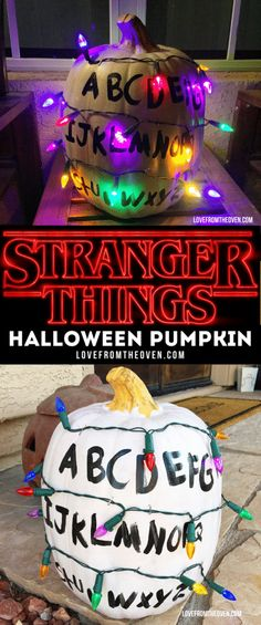 so easy to make this Stranger Things Halloween Pumpkin with Christmas lights! Great with a Stranger Things costume!It's so easy to make this Stranger Things Halloween Pumpkin with Christmas lights! Great with a Stranger Things costume! Halloween Tags, Halloween 2017, Holidays Halloween, Happy Halloween, Haloween Costumes 2017, It Costume, Halloween Mural, Halloween Lighting, Halloween Humor
