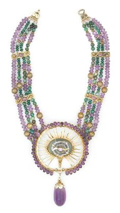 untitled  Tony Duquette (American, 1914-1999), 'Symbolizes the Ancient Sun God Ra', 1990s. An aventurine, amethyst, crystal slice, chrysocola and vermeil necklace