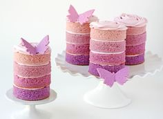 Purple Ombré Mini Cakes - so the re not healthy, they are pretty.
