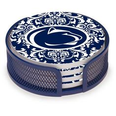 Stoneware Drink Coaster Set with Holder Included, Penn State University Pattern, Multicolor