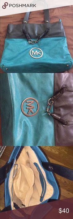 Michale Kors teal and black large bag Michael Kors large bag, great condition. Not real. Michael Kors Bags Shoulder Bags
