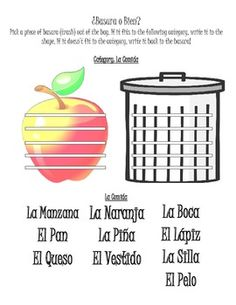 ¿BASURA O BIEN?- SPANISH VOCABULARY STATION/ACTIVITY- CATEGORIES - Food, animals, clothing, colors, numbers, body parts, family...