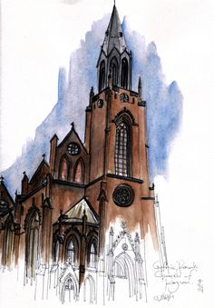 Poznań Holy Redeemer Church, ul. Fredry, Poznań, Poland #sketch #sketching #urbansketchers #theheadlessketcher #drawing #sketchbook #architecture #Poznan #polska #uskp #pendrawing #watercolor