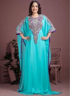 d25f650b0c621 Blest Turquoise Color Georgette Fabric Kaftans