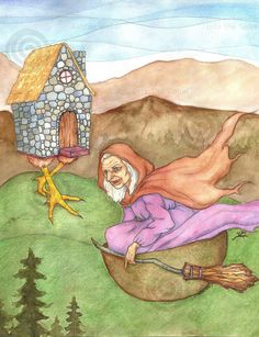 Baba Yaga Rides 85 x 11 inch Art Print by intothespiral on Etsy, $10.00