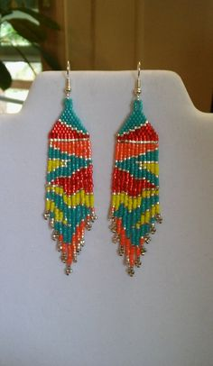 Native American Style Beaded Maze Earring Southwestern Boho Fringe Earrings Seed Bead