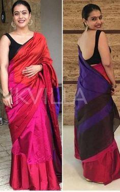 Kajol backless Modern Indian Saris Click visit link above for more options Simple Sarees, Trendy Sarees, Chiffon Saree, Saree Dress, Indian Beauty Saree, Indian Sarees, Indian Dresses, Indian Outfits, Kajol Saree