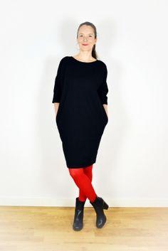 BellaSeven Shop - Jersey Kleid -Schwarz-