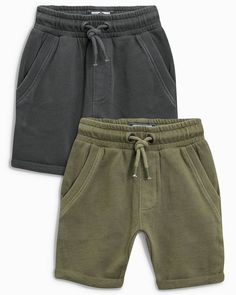 Boys Next Khaki/Grey Shorts Two Pack - Green Blue Red Bottoms, Latest Fashion For Women, Mens Fashion, Streetwear Shorts, Sharp Dressed Man, Slim Fit Pants, Colourful Outfits, Monokini, Kids Outfits