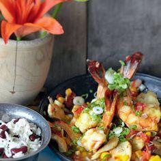 Hähnchen-Garnelen-Pfanne mit Bohnen-Reis